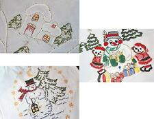 FROSTY SNOWMAN & VILLAGE!  VTG GERMAN CHRISTMAS TABLECLOTH + GIFT & TOTE BAGS