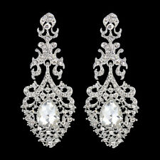 Luxury Wedding Flower Lace Clear Austrian Crystal Dangle Earrings Silver GP E458