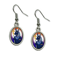 Anubis - Egyptian God Egypt Mythological - Dangling Drop Oval Charm Earrings