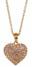 Swarovski Elements Crystal Puffed Heart Pendant Necklace 18K Gold Plated 7117x