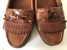 Womens Dexter Brown Leather Soles Slip On Loafer Shoes 7 1/2