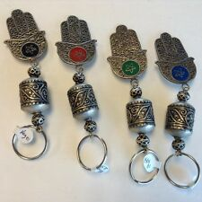 Moroccan Hansa Khamsa Hand Lucky Charm Amulet Keyring in Alpaca Silver Alloy