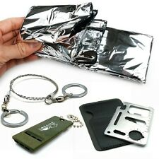 Camping kits Tools Wire Saws+Mini Multi-function Knife+Survival Blankets+Whistle