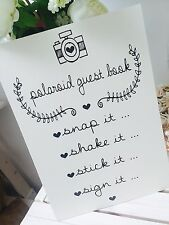 Vintage/Rustic ivory A3 Polaroid guest book sign for weddings/parties- backed