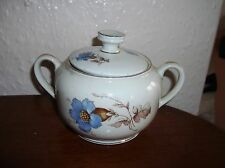 VINTAGE PRETTY GILDED SUGAR BOWL WITH HANDLES AND LID BLUE GENTIAN BAVARIA