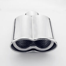 "58mm 2.25"" Inlet dual oval shape Rolled angel-cut Stainless Steel Exhaust tip"