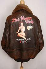 Vtg AVIREX G-1 US NAVY 'Las Vegas Lady' Leather Flight Jacket XL