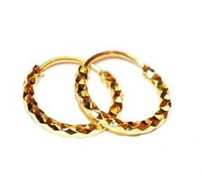 NEW STYLISH 24 CT GOLD PLATED  1CM HOOP EARRINGS UNISEX + FREE SUEDE POUCH E13