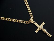 "Mens 20"" Gold Stainless Steel Cuban Chain Necklace Jesus Crucifix Cross Pendant"