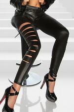 Sexy Leder Optik Leggings Leggins Legins Hose Cut Out schwarz S 34 36 11326