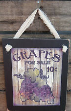 Grapes For Sale Hanging Wall Sign Plaque Primitive Rustic Lodge Cabin Decor