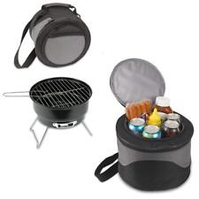 BRAND NEW 2 IN 1 PORTABLE FOLDING MINI CHARCOAL BBQ GRILL SET WITH COOLER BAG
