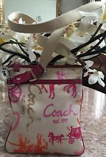 Coach Pink Ivory Horse and Carriage Sateen Cross-body Bag EUC