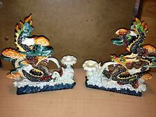 SET OF 2 COLORED DRAGONS DECORATIVE FIGURINES STATUES