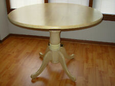 "40"" Round Kitchen Dining Table Single Pedestal Light Finish Solid Wood maple oak"