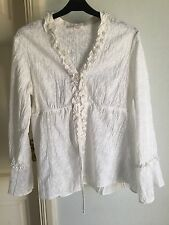 M&S Petite White Blouse Frilly size 12