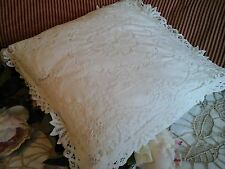 Antique French Textile Cushion/Bolster Cover~Needle Tapework Lace/Fine Embroider