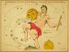 PAINTINGS DRAWING STAR MAP AQUARIUS FISH CONSTELLATION ART POSTER PRINT LV3124