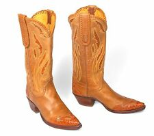 Stallion Deer Tanned Cowboy Boots w/Alligator Wingtips Inlays - Wm's Sz 7M