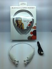 LOT OF 5 NEW BLUETOOTH STEREO HEADSET HANDSFREE AROUND THE NECK UNIVERSAL WHITE