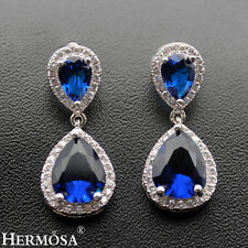 Blue Sapphire & White Topaz. New 925 Sterling Silver Royal Gifts Earrings