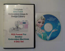 139,877 BROTHER PES Format EMBROIDERY Designs 4 DISC BOX-SET+ Frozen Design CD