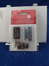 NEW STUDIO G CLEAR STAMP SET DECEMBER 25TH HAPPY HOLIDAYS PRESENTS VC0057