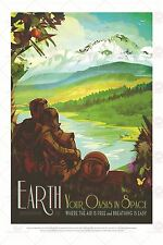 SPACE TOURISM SCIENCE FUN TRAVEL EARTH OASIS LANDSCAPE POSTER PRINT LF1801