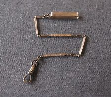 ANTIQUE 1920'S MAR GOLD FILLED BELT LOOP DECORATED CHAIN & HOOK FOR POCKET WATCH