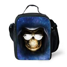 New Skull Kids Girls Boys Bento Lunch Boxes Thermal Insulated Cooler School Blue