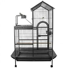 LARGE INDOOR BIRD BUDGIE PARROT WIRE CAGE AVIARY PERCH PORTABLE ON WHEELS 161CM