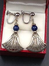 Vintage Egyptian Revival Sterling Silver Lapis Lazuli Lotus Earrings Hallmarked!