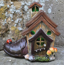 Magical Fairy Door House Garden Ornament LED LIGHT Shoe House Elf Pixie 39202