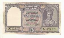 British India 10 Rupee Note ★ C D Deshmukh ★ George VI & Sailing Dow ★ UNC !