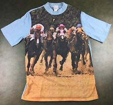True Vintage 80s Horse Racing Jockey All-Over Graphic Polyester T-Shirt M