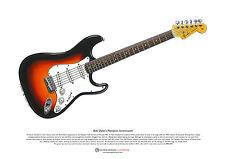 Bob Dylan de Newport Stratocaster Arte Cartel Tamaño A3