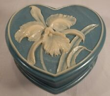 Blue Incolay Heart Shaped Jewelry Box With Orchid Flower