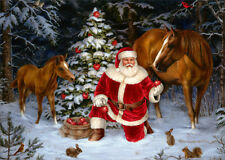 Santa with Two Horses - Box of 18 LPG Christmas Cards by LPG Greetings