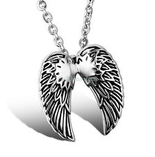 "22"" Fashion Stainless Steel Chain w/ Angel Wing Pendant Men's Necklace Silver"