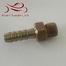 "1/4"" BSP x 8mm(5/16"") Barb Tail - MALE STRAIGHT HYDRAULIC NIPPLE PIPE FITTING"