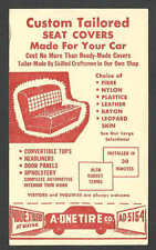DATED 1953 PC DAYTON OH A ONE TIRE CO SELLS AUTO SEAT COVERS  NYLON PLASTIC ETC