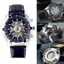 Luxury Mens Watches Skeleton Dial Automatic Mechanical Leather Strap Wrist Watch