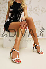 MICHELE SOZIO ~ Italy Lack Leder Sandaletten 37 schwarz weiß Business High Heels