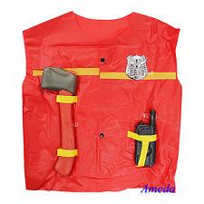 New Baby Kids  Firefighter Fireman Vest 3pcs Play Set Costume Fancy Dress Up