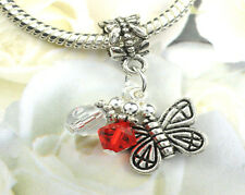 Red Crystal Butterfly Dangle Charm Bead w Swarovski Elements European Style