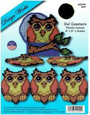 BLUE  MOON  OWL  COASTERS  &  HOLDER  plastic canvas  KIT   ~NIP (#463)