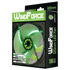 Game Max Windforce 4 x Green LED 12CM PC Cooling Fan 3-pin & 4-Pin Molex 120mm