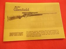 1972 Owners Manual for a Glenfield Bolt Action 22 Cal Rifle Model 10, 20 & 25