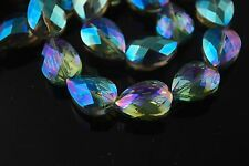 10pcs Loose Green Colorized Glass Crystal Faceted Teardrop Beads 18x8mm Spacer