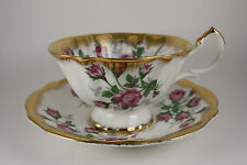 Vintage 1959-1966 Queen Anne Pink Roses Teacup & Saucer Fine Bone China England